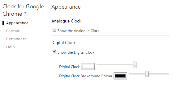 Clock for Google Chrome_appearance