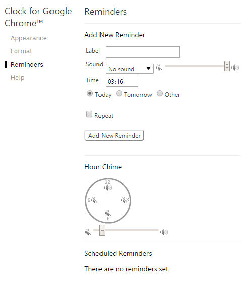 Clock for Google Chrome_reminders